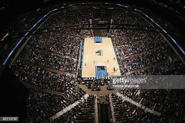 A general view of the court and some of the 18722 people in attendance during the game between the Sacramento Kings and the Minnesota Timberwolves on...