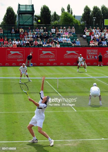 General view of the court as Great Britain's Jamie Murray and South Africa's Jeff Coetzee play their doubles match against USA's Eric Butorac and...