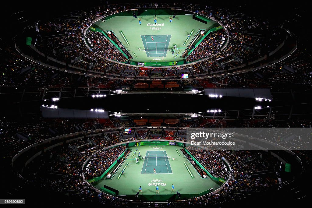 A general view of the court as Monica Puig of Puerto Rico plays against Angelique Kerber of Germany during the Women's Singles Gold Medal Match on Day 8 of the Rio 2016 Olympic Games at the Olympic Tennis Centre on August 13, 2016 in Rio de Janeiro, Brazil.