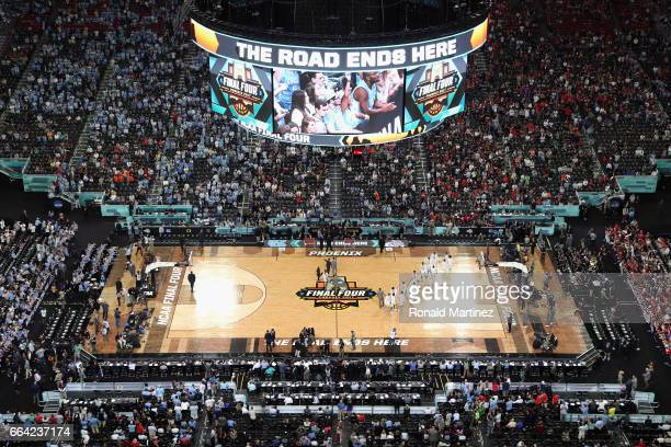 A general view of the court as players warm up before the game between the North Carolina Tar Heels and the Gonzaga Bulldogs during the 2017 NCAA...