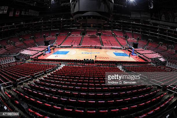 A general view of the court before a game between the San Antonio Spurs and Los Angeles Clippers in Game Seven of the Western Conference...