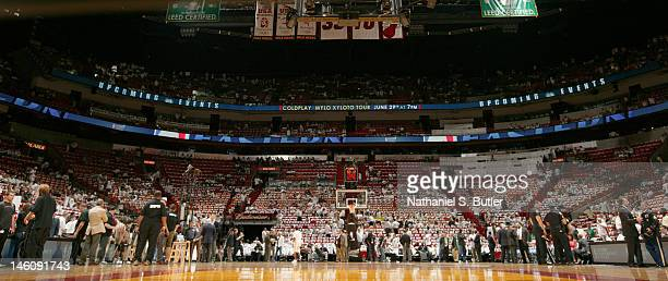General view of the court before Game Seven of the Eastern Conference Finals between the Boston Celtics and the Miami Heat during the 2012 NBA...