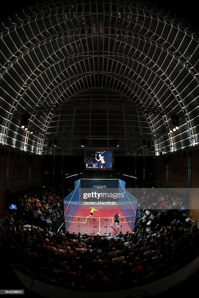 A general view of the court during the final of the Canary Wharf Squash Classic 2013 between James Willstrop of England (L) and Peter Barker of England on March 22, 2013 in London, England.