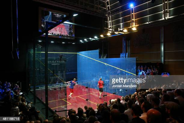 A general view of the court during the final of the Canary Wharf Squash Classic between Nick Matthew of England and James Willstrop of England on...