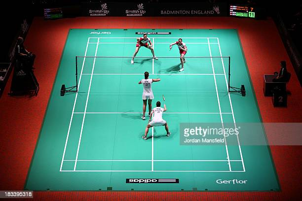 A general view of the court during the final of the womens doubles between Christinna Pedersen and Kamilla Rytter Juhl of Denmark against Line...
