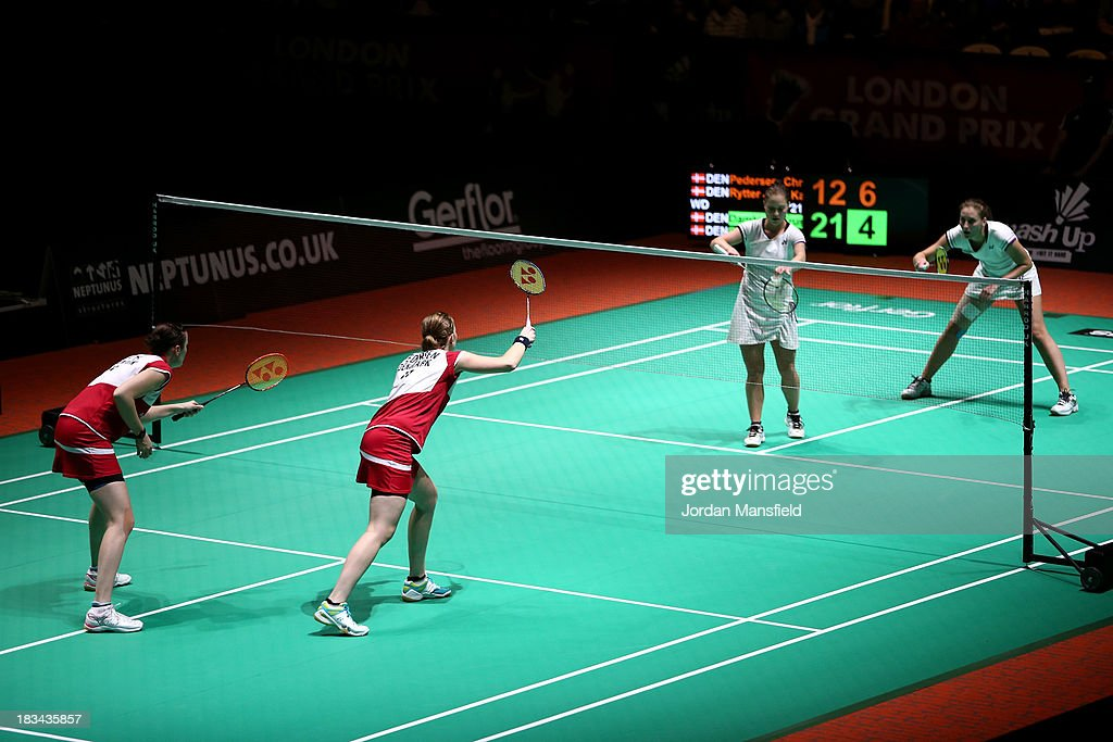 A general view of the court during the final of the womens doubles between Line Damkjaer Kruse and Marie Roepke of Denmark (R) against Christinna Pedersen and Kamilla Rytter Juhl of Denmark (L) during Day 6 of the London Badminton Grand Prix at The Copper Box on October 6, 2013 in London, England.