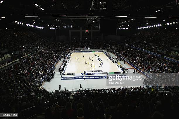 A general view of the court during the first netball test series match between New Zealand and Australia at the Vector Arena on July 18 2007 in...