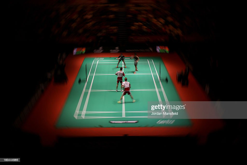 A general view of the court during the Men's Doubles Final match between Mathian Boe and Carsten Mogensen of Denmark against Berry Angriawan and Ricky Karanda Suwardi of Indonesia during Day 6 of the London Badminton Grand Prix at The Copper Box on October 6, 2013 in London, England.