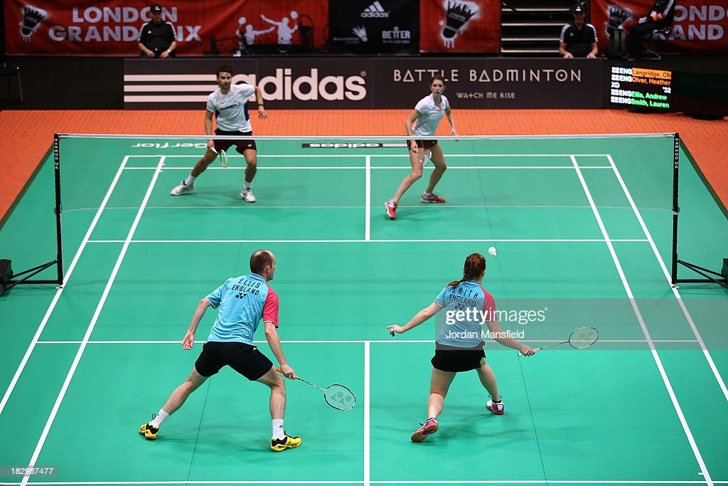 A general view of the court during the mixed doubles match between Heather Oliver and Chris Langridge of England (above) against Andrew Ellis and Lauren Smith (below) of England during Day 3 of the London Badminton Grand Prix at The Copper Box on October 3, 2013 in London, England.
