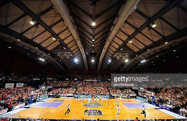 A general view of the court during the round 25 NBL match between the Cairns Taipans and the Townsville Crocodiles at Cairns Convention Centre on...
