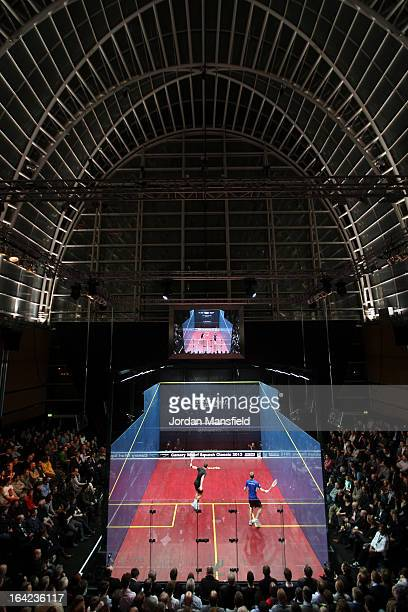 A general view of the court during the semifinal match between Nick Matthew of England and Peter Barker of England in the Canary Wharf Squash Classic...