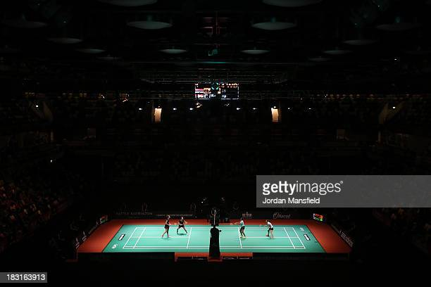 A general view of the court during the womens double semifinal match between Line Damkjaer Kruse and Marie Roepke of Denmark and Shinta Mulia Sari...