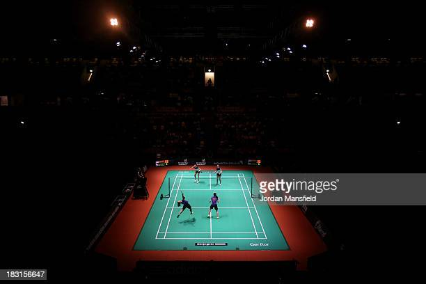 A general view of the court during the womens doubles match between Yu Yan Vanessa Neo and Mingtian Fu of Singapore against Christinna Pedersen and...