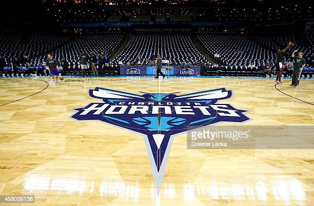 A general view of the court for the new Charlotte Hornets opening night game against the Milwaukee Bucks at Time Warner Cable Arena on October 29...