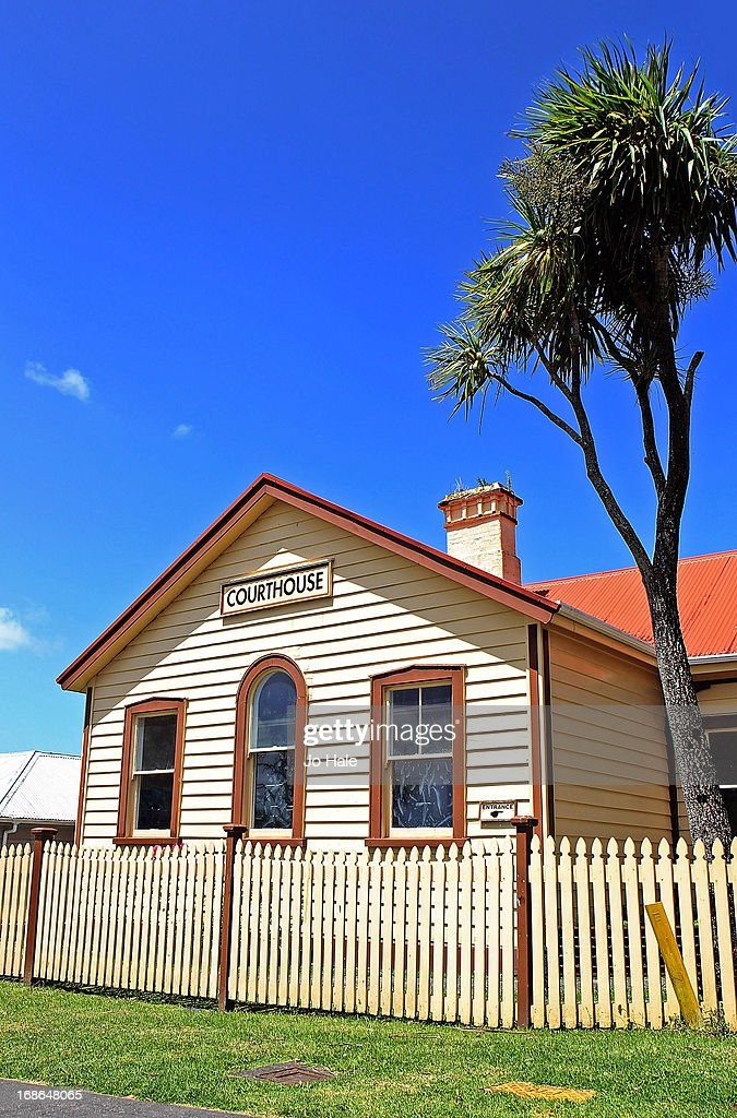 A general view of the Court House next door to the Masonic Hotel on January 8, 2013 in Rawene in the Northlands of the North Island in New Zealand.