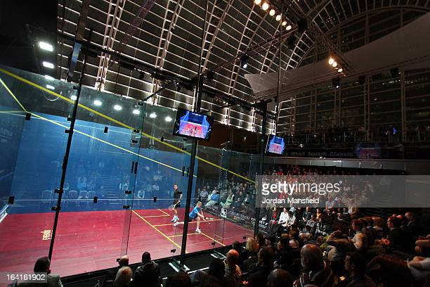 A general view of the court in the East Wintergarden during the quarterfinal match between Peter Barker of England and Tom Richards of SouthAfrica in...