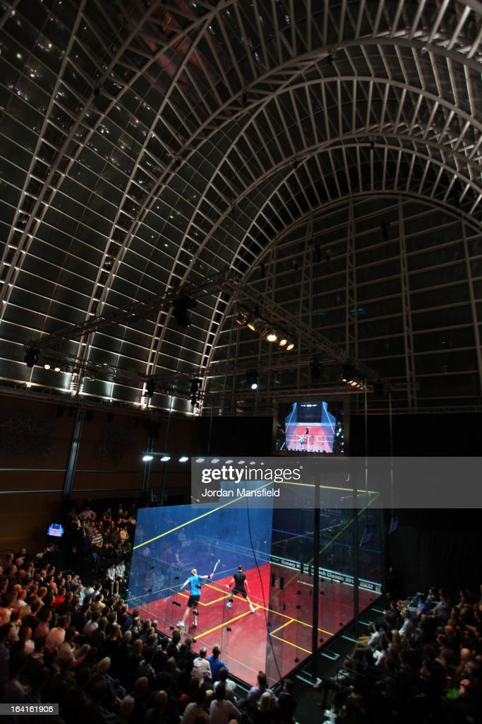 A general view of the court in the East Wintergarden during the quarter-final match between Peter Barker of England and Tom Richards of South-Africa in the Canary Wharf Squash Classic on March 20, 2013 in London, England.