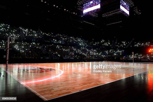 A general view of the court is seen before the Super Netball Grand Final match between the Lightning and the Giants at the Brisbane Entertainment...