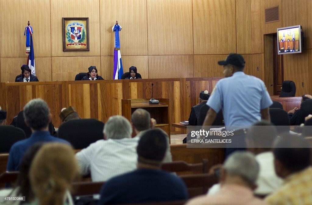 General view of the court of the trial against four Frenchmen and 10 other people accused of trying to fly dozens of suitcases packed with cocaine...