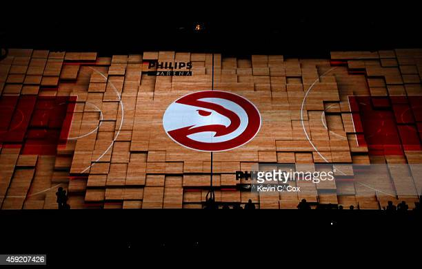 A general view of the court prior player introductions between the Atlanta Hawks and the Los Angeles Lakers at Philips Arena on November 18 2014 in...