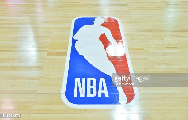 A general view of the court shows the NBA logo during a game between the Sacramento Kings and the Memphis Grizzlies during the 2017 NBA Summer League...