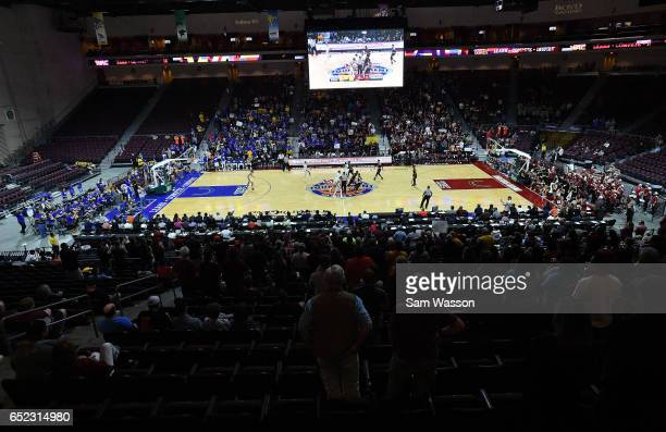 A general view of the court shows the New Mexico State Aggies and the Cal State Bakersfield Roadrunners during the championship game of the Western...