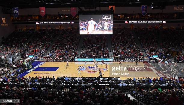 A general view of the court shows the Santa Clara Broncos and the Gonzaga Bulldogs during a semifinal game of the West Coast Conference Basketball...