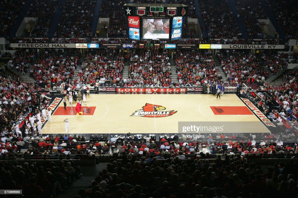 A general view of the court taken during the game between the Louisville Cardinals and the DePaul Blue Demons on Feburary 22 2006 at Freedom Hall in...