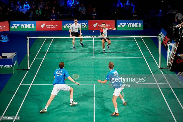 General view of the court when Anders Skaarup Rasmussen and Mads Conrad of Denmark play against Mathias Boe and Carsten Mogensen of Denmark during...