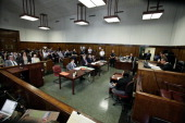 General view of the courtroom during the hearing of former IMF chief Dominique StraussKahn at the New York courthouse on August 23 2011 StraussKahn...