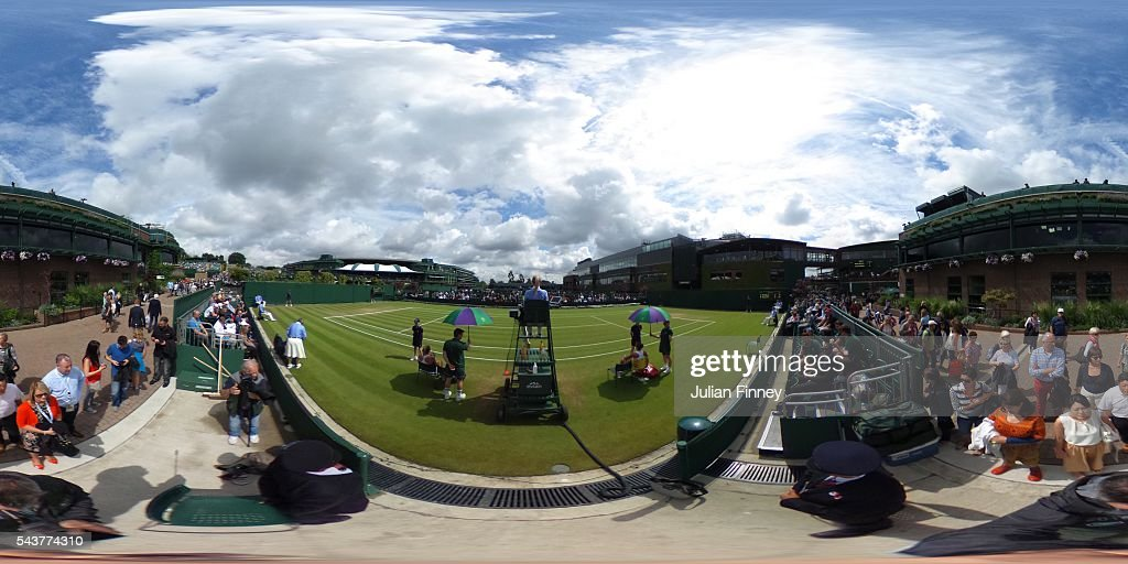A general view of the courts on day four of the Wimbledon Lawn Tennis Championships at the All England Lawn Tennis and Croquet Club on June 30, 2016 in London, England.