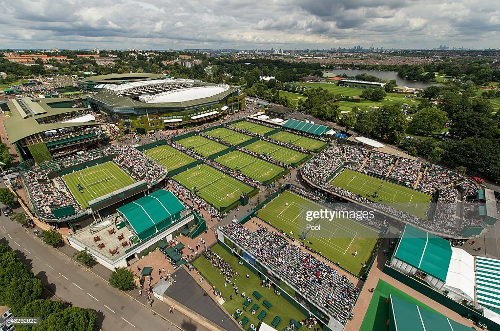 A general view of the courts on day one of the Wimbledon Lawn Tennis Championships at the All England Lawn Tennis and Croquet Club on June 27th, 2016 in London, England.