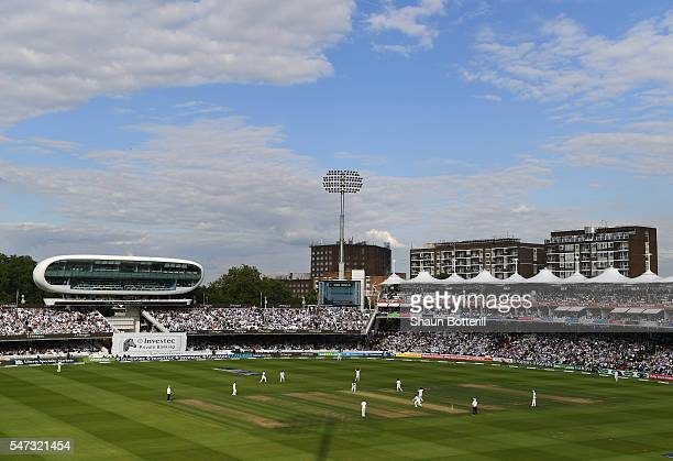 A general view of the cricket ground from the New Warner Stand during day one of the 1st Investec Test match between England and Pakistan at Lord's...
