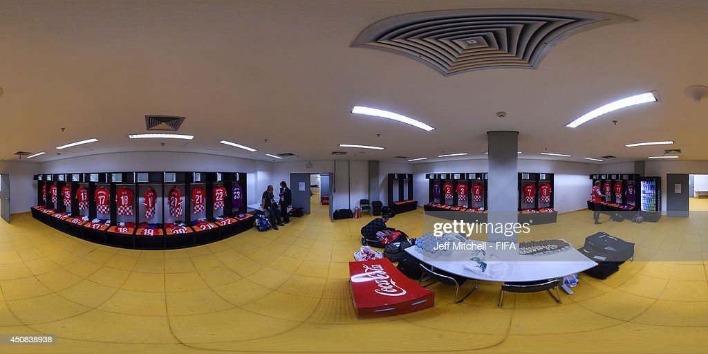 A general view of the Croatian dressing room ahead of the 2014 FIFA World Cup Brazil Group A match between Cameroon v Croatia at Arena Amazonia on June 18, 2014 in Manaus, Brazil.
