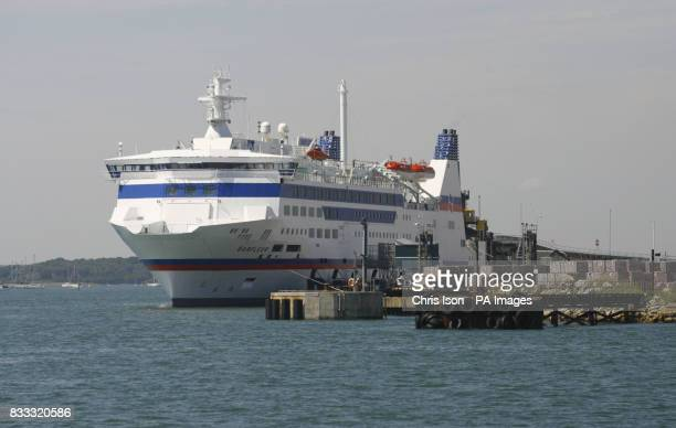 General view of the cross channel ferry Barfleur operated by Brittany Ferries alongside in Poole Harbour Dorset