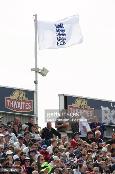 General view of the crowd and ECB flag