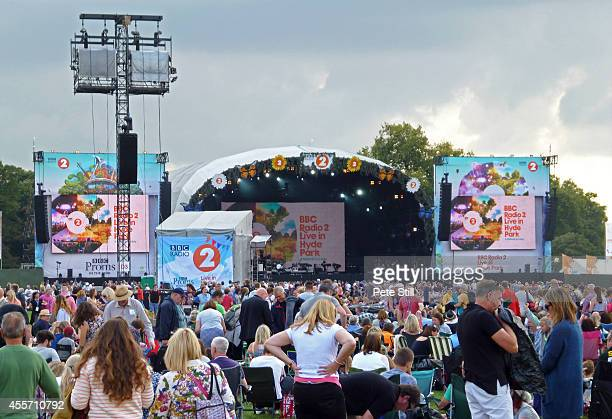 General view of the crowd and stage at the BBC Radio 2 Live In The Park concert at Hyde Park on September 14 2014 in London United Kingdom