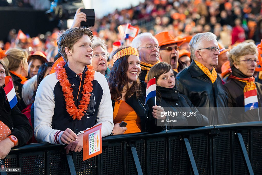 General view of the crowd as Andre Rieu performs on stage at Museumplien during the inauguration of King Willem Alexander of the Netherlands as Queen Beatrix of the Netherlands abdicates on April 30, 2013 in Amsterdam, Netherlands.