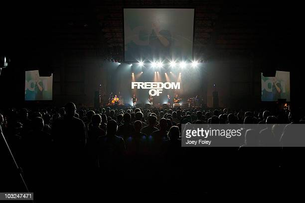 A general view of the crowd as Devo performs live onstage at the Ohio Expo Center on August 4 2010 in Columbus Ohio