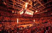 A general view of the crowd as fire erupts from the jumbotron during player introductions before Game Four of the Eastern Conference Finals of the...