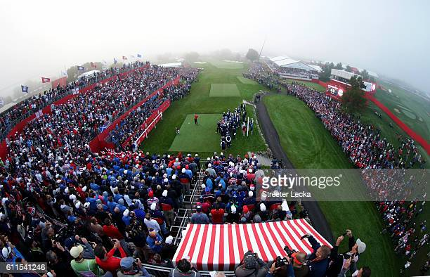 A general view of the crowd as Patrick Reed of the United States hits off the first tee during morning foursome matches of the 2016 Ryder Cup at...
