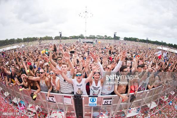 General view of the crowd at EDC UK in Milton Keynes Bowl on July 11 2015 in Milton Keynes England