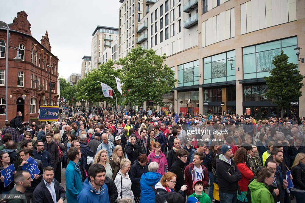 A general view of the crowd during an anti-Brexit rally on June 28, 2016 in Cardiff, Wales. The protest is at a time of economic and political uncertainty following the referendum result last week, which saw the UK vote to leave the European Union.