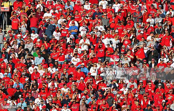 A general view of the crowd during Game One of the National League Division Series between the Washington Nationals and the St Louis Cardinals at...