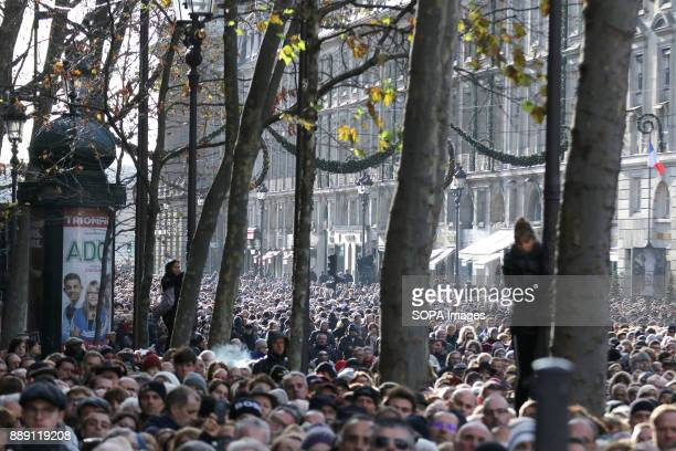 A general view of the crowd during Johnny Hallydays funerals at Eglise de la Madeleine
