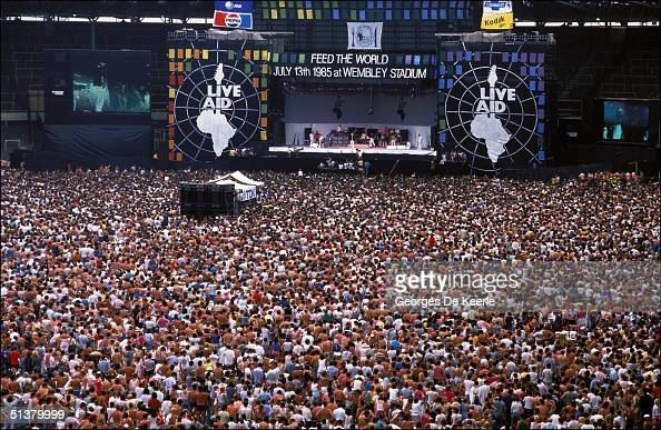 General view of the crowd during Live Aid in Wembley stadium 13 July 1985