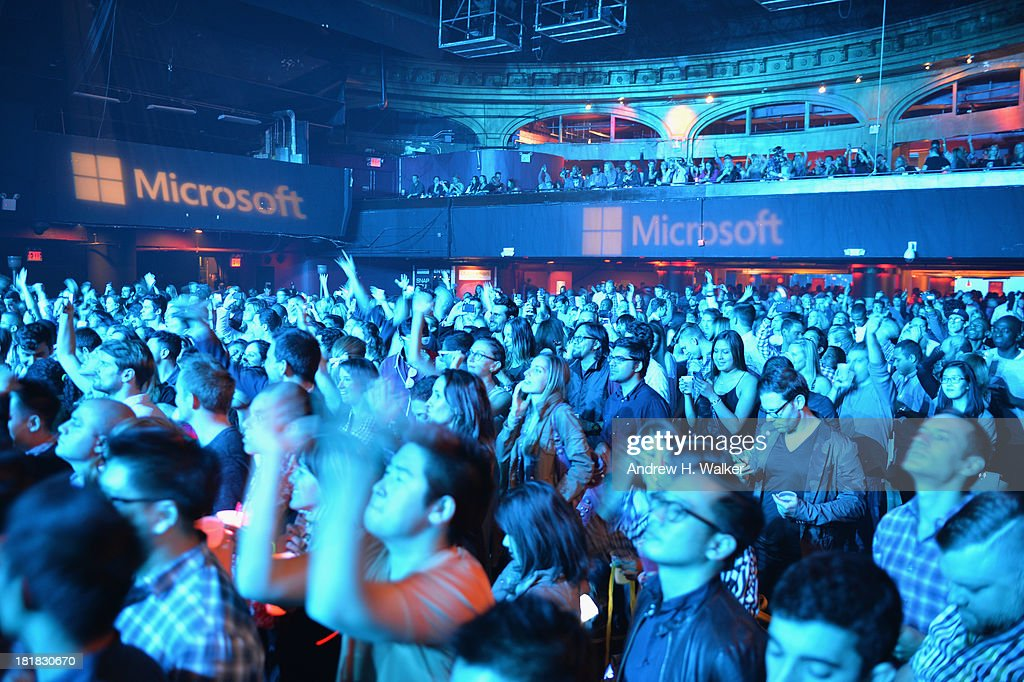 General view of the crowd during Microsoft Live! at Advertising Week featuring music from Avicii with Cazzette at Roseland Ballroom on September 25, 2013 in New York City.