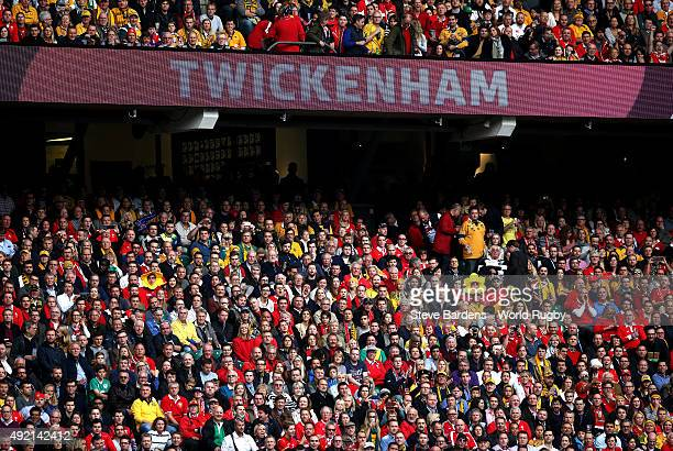 A general view of the crowd during the 2015 Rugby World Cup Pool A match between Australia and Wales at Twickenham Stadium on October 10 2015 in...