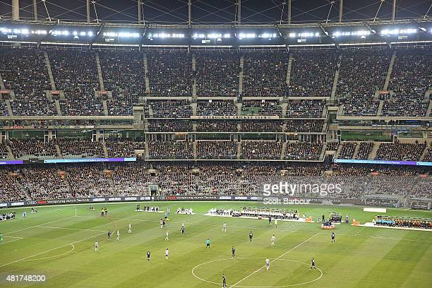 A general view of the crowd during the International Champions Cup match between Real Madrid and Manchester City at the Melbourne Cricket Ground on...