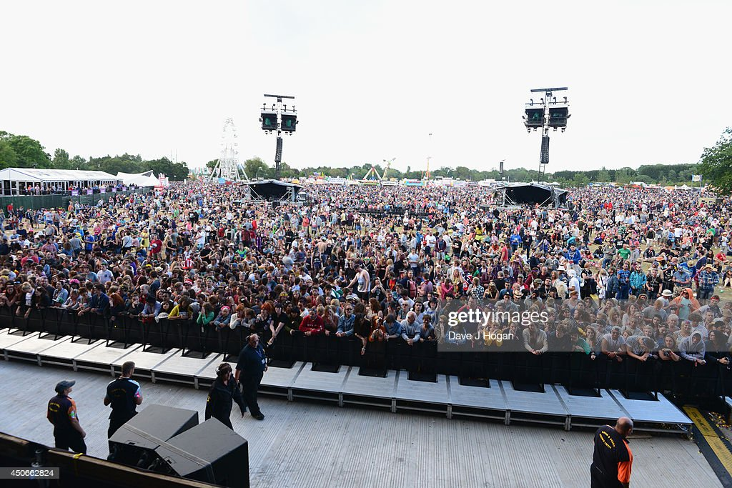 A general view of the crowd during The Isle of Wight Festival at Seaclose Park on June 15 2014 in Newport Isle of Wight
